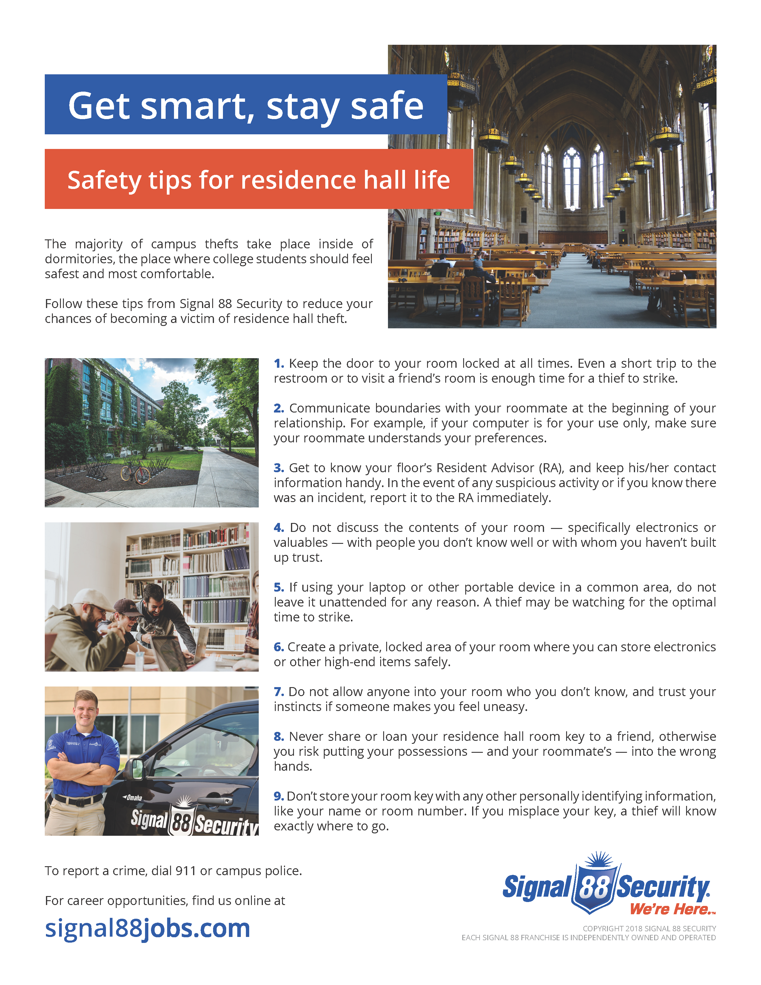 Residence Hall Safety Tips